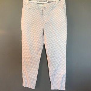 Crop leg blue/white diamond khakis
